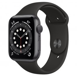 Apple Watch Series 6 - Aluminium kast Spacegrijs 44mm, Sportbandje Zwart