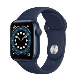 Apple Watch Series 6 - Aluminium kast Blauw 40mm, Sportbandje Donkermarineblauw
